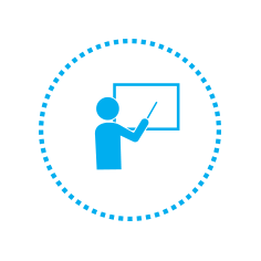 Icon of someone pointing to a presentation board