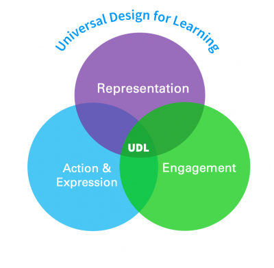 Universal Design for Learning Framework showing Representation, Action & Expression, and Engagement in a venn diagram with UDL at the centre