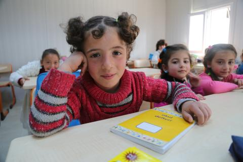 Children in classroom at the opening of a new education centre for Syrian children in Kahramanmaras