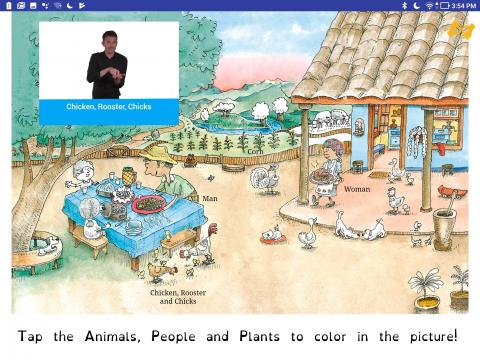 Screenshot of the Finding Activity with a picture of a farm with animals and people as well as a sign language video