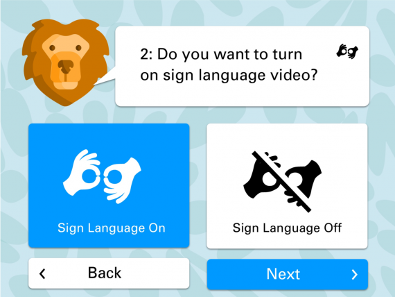 Intro option screen to select sign language video as a toggleable item